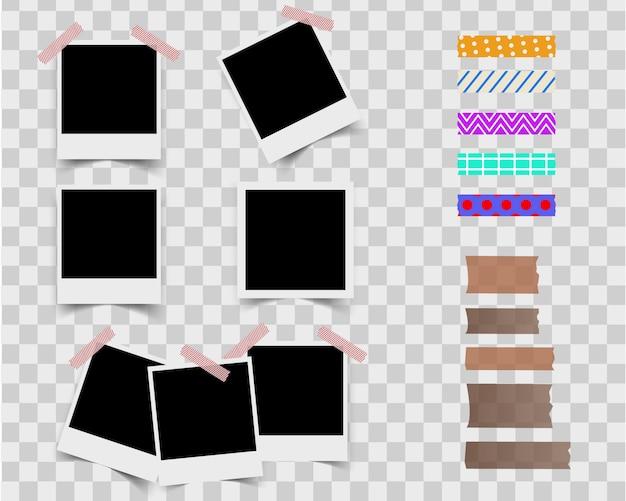 Blank photo frame. japanese tape vector.
