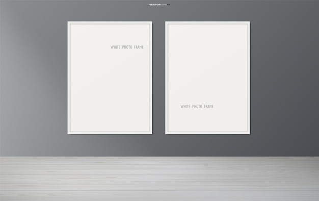 Blank photo frame or picture frame in wooden room background. vector illustration.