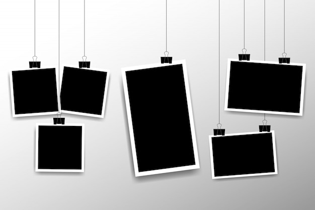 Blank photo frame set hanging on a clip. retro vintage style. vertical and horizontal photo design template. black empty place for your text or photo. realistic detailed photo icon design template.