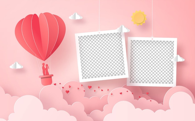 Blank photo frame with heart shape balloon on the sky, happy valentine's day