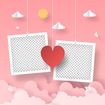 Blank photo frame with heart shape balloon on the sky romantic valentine's day