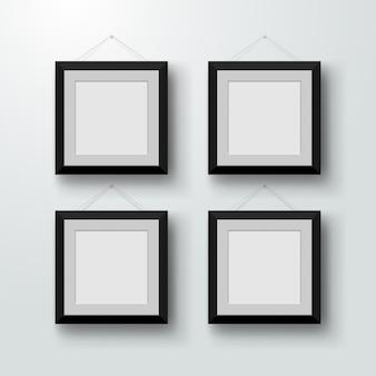 壁に空白のフォトフレーム。モダンなインテリアのデザインベクトルイラスト