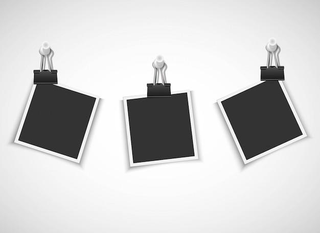 Пустые рамки для фотографий с зажимом и канцелярской кнопкой