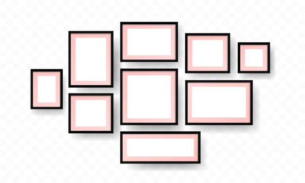 Blank photo frames with shadow and borders and shadow