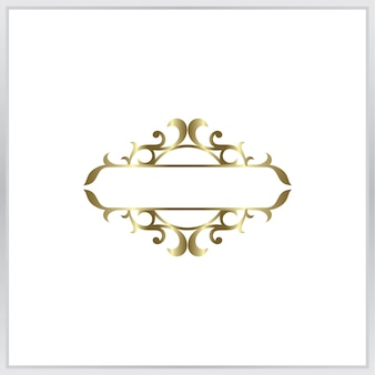 Blank photo frmae icon. gold ornament