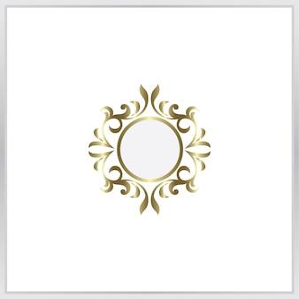 Значок пустой фото frmae. золотой орнамент