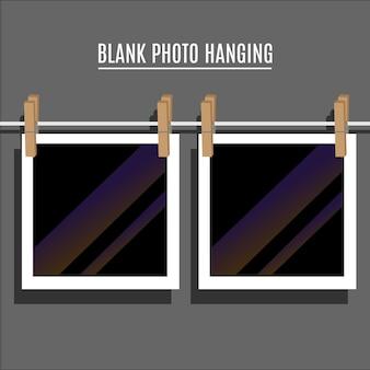 Blank photo hanging