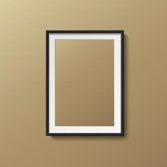 3 dイラストレーションで茶色の壁に分離された空白の額縁