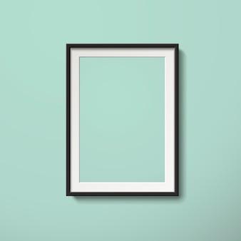 3 dイラストレーションでミントグリーンの壁に分離された空白の額縁
