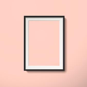 3 dイラストレーションでピンクの壁に分離された空白の額縁