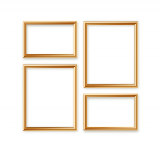Blank picture frame template composition set isolated on wall background