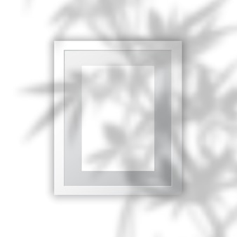 Blank picture frame with plant shadow overlay