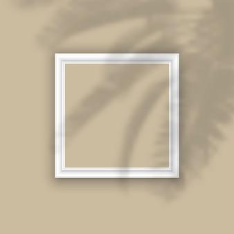 植物の影のオーバーレイと空白の額縁