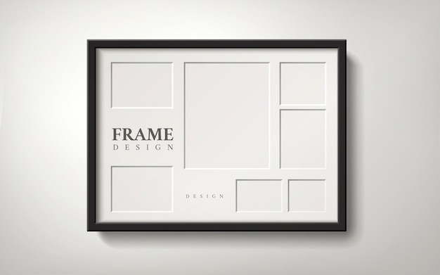 Blank picture frame with several spaces for placing photos, 3d illustration realistic style
