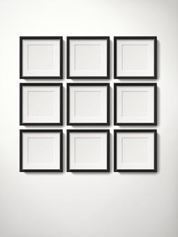 Коллекция пустых рамок для картин, висящих на стене упорядоченным образом, реалистичный стиль 3d иллюстрации