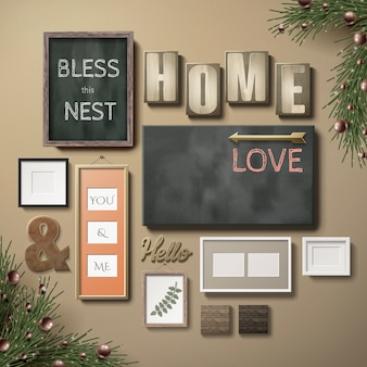Blank picture frames decoration and poster paper hanging on the pink wall, 3d illustration in realistic style