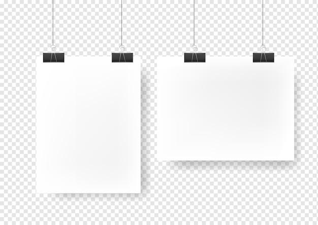 Blank picture gallery hanging on binders mockup