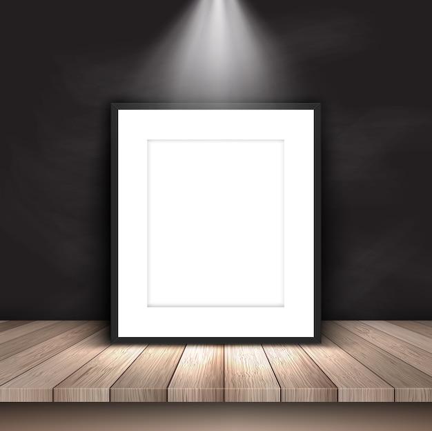 칠판 벽에 기대어 스포트 라이트 아래 빈 그림