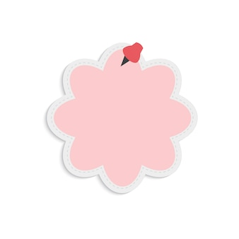 Blank pink bubble reminder note vector