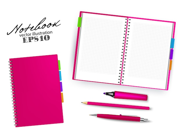 Blank pink open and closed copybook template with pen, pencil and permanent marker.set of   illustration stationary isolated