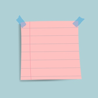 Blank pink reminder paper note vector