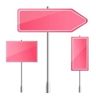 空白のピンクの道路標識の図