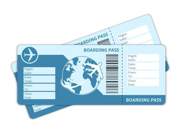 空白の飛行機のチケット