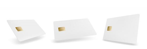空白のプラスチッククレジットカードテンプレート。空の白い銀行のベクトル現実的なモックアップ