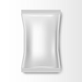 Blank plastic foil bag for packaging design, mockup template for food snack, vector illustration