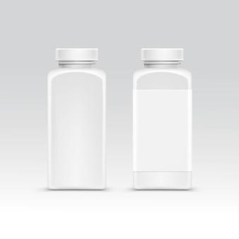 고립 된 알 약에 대 한 모자와 빈 플라스틱 포장 병