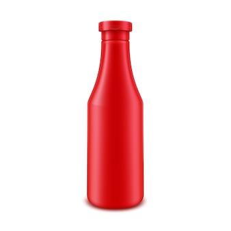 白い背景で隔離のラベルなしのブランドの空白のプラスチック製の赤いトマトケチャップボトル