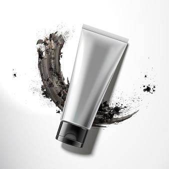 Blank plastic tube with smear charcoal powder , top view