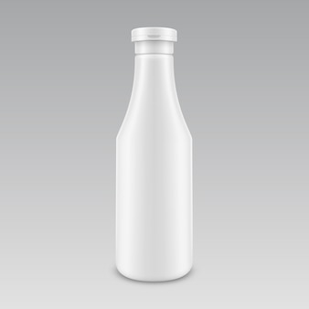 Blank plastic white mayonnaise mustard ketchup bottle for branding without label isolated on background