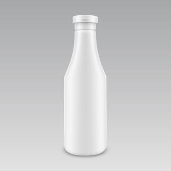 空白のプラスチック製の白いマヨネーズマスタードケチャップボトルの背景に分離されたラベルなしのブランド