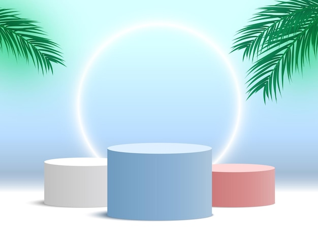 Blank podium with palm leaves and glowing ring round pedestal cosmetic products display platform
