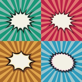 Blank pop art speech bubbles and burst shapes on retro superhero sunset background