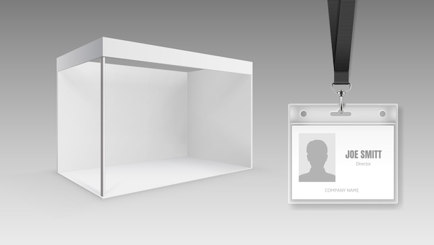 Blank portable folding presentation display board or exhibition stand and id cards