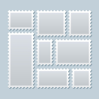 Blank postage stamps in different size