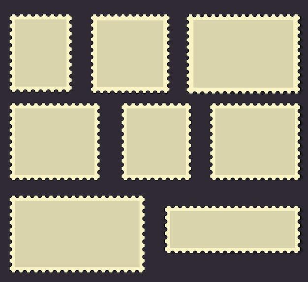 Blank postage stamps frames set