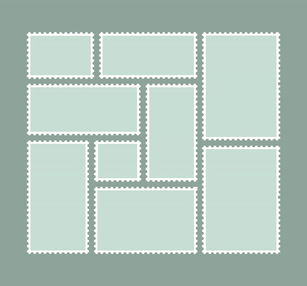 Blank postage stamps. stamps for mail letter. postal frame.