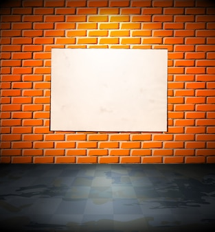Blank poster on the brick wall
