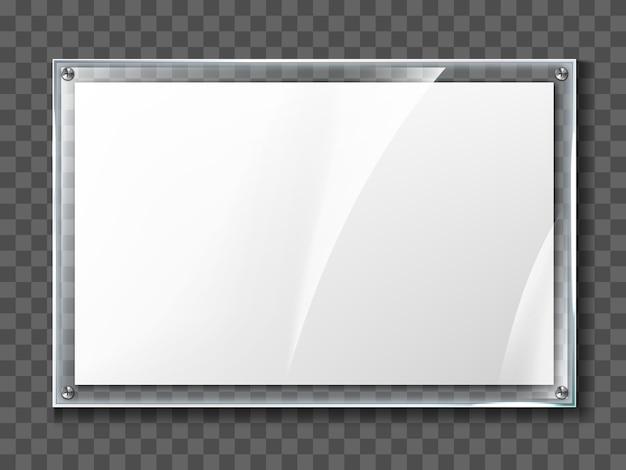 투명 한 배경에 고립 된 현실적인 유리 프레임에 빈 포스터. 디스플레이 프레임 투명 벽 아크릴 사진 포스터 프리미엄 벡터