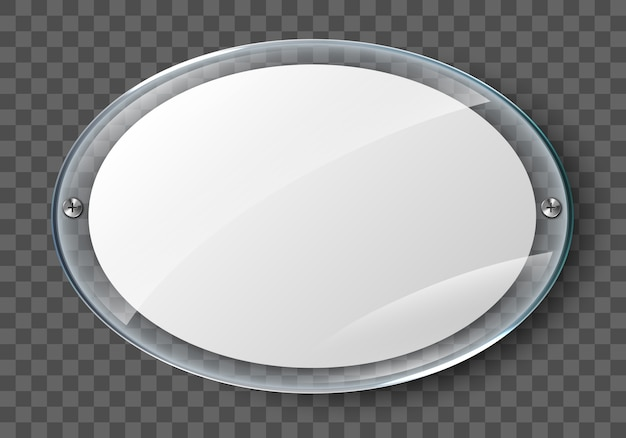 Blank poster in realistic glass frame isolated on transparent background. transparent wall acrylic photo poster with display frame