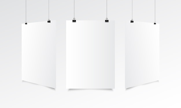 Blank poster realistic mock up with hanging