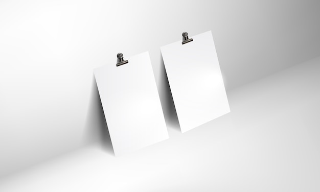 Blank poster realistic mockup with binder clip