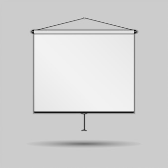 Blank presentation screen, whiteboard, on gray background,