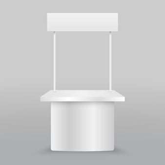 Blank promotion counter. retail trade stand isolated