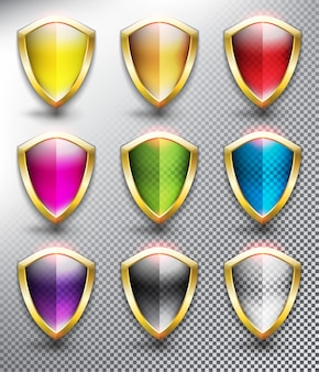 Blank protection shields with metallic, golden frame. shield icons collection. isolated on the white surface.