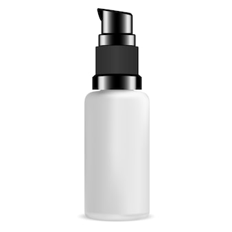 Blank pump bottle for serum cosmetic. glass package.