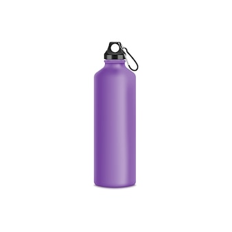Of blank purple aluminum sport bottle with fastening clip realistic style
